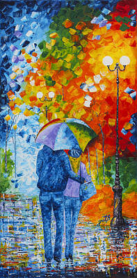 Art Print featuring the painting Sharing Love On A Rainy Evening Original Palette Knife Painting by Georgeta Blanaru