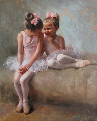 Sisters Painting - Sharing Secrets by Anna Rose Bain