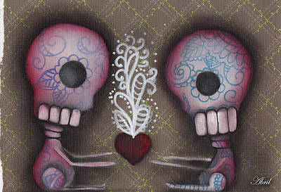 Pop Surrealism Painting - Sharing The Love by Abril Andrade Griffith