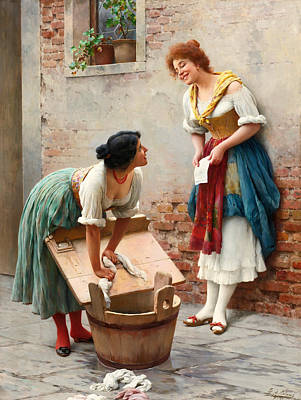 Sharing The News Art Print by Eugene de Blaas