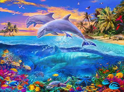 Whale Shark Photograph - Shark And Dolphin Paradise by Jan Patrik Krasny