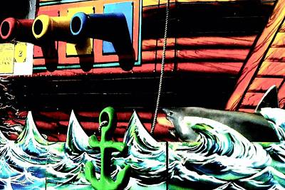 Shark And Pirate Ship Pop Art Posterized Photo Art Print by Marianne Dow
