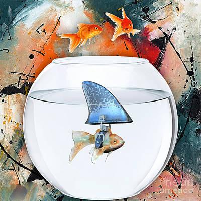 Sea Mixed Media - Shark by Marvin Blaine