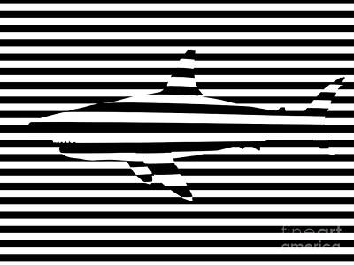 Geometric Animal Digital Art - Shark Optical Illusion by Pixel Chimp