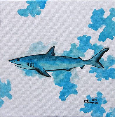 Mix Medium Mixed Media - Shark Study by Kayleigh Semeniuk