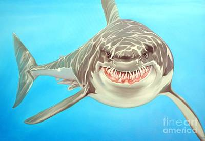 Shark Painting - Sharky by Michael Loeb
