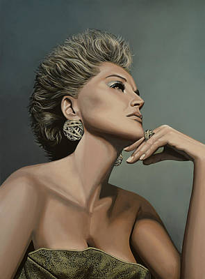 Sharon Stone Print by Paul Meijering