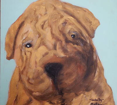 Painting - Sharpei - Golden Boy by Laura  Grisham
