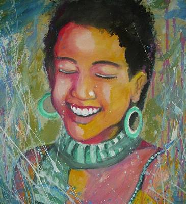 Obama Painting - Shasha Obama. by Nixon Mwangi