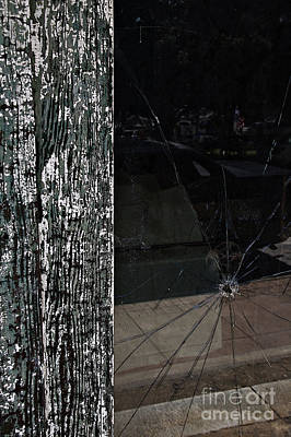 Shattered Reflections In The Window Art Print by JW Hanley