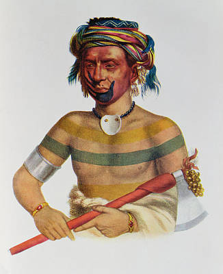 Shau-hau-napo-tinia, An Iowa Chief, 1837, Illustration From The Indian Tribes Of North America Print by Charles Bird King