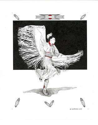 Wall Art - Drawing - Shawl Dancer by Paul Shafranski