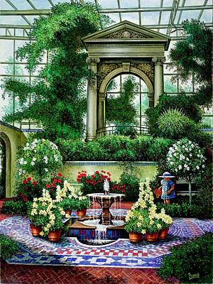 Art Print featuring the painting Shaw's Gardens Mediteranian House by Michael Frank