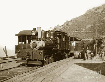 Print featuring the photograph Shay No. 498 At The Summit Of Mt. Tamalpais Marin Co California Circa 1902 by California Views Mr Pat Hathaway Archives