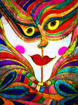 Painting - She Faces Abstraction Boldly - Inked Colorful Face by Marie Jamieson