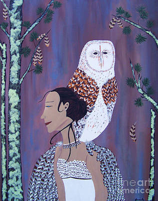 Painting - She Flies With The Owls by Jean Fry