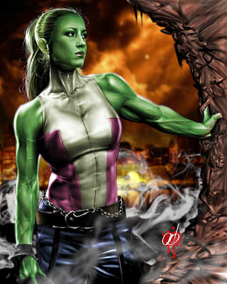 Hulk Drawing - She-hulk by Pete Tapang