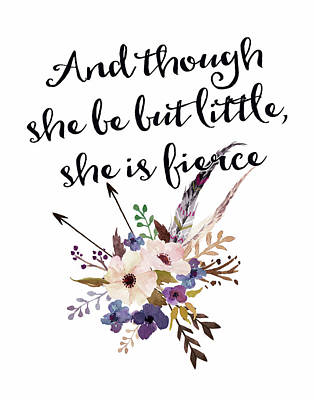 She Is Fierce Floral Art Print