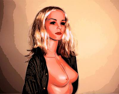 Topless Digital Art - She Is Ready For Closeup by Richard Hemingway