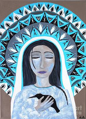 Painting - She Listens - Goddess With Crow by Jean Fry