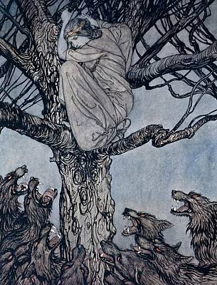 Hiding Drawing - She Looked With Angry Woe At The Straining And Snarling Horde Below Illustration From Irish Fairy  by Arthur Rackham