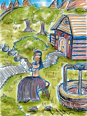 Drawing - She Made Away by Robert Watson