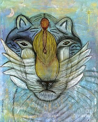 Nativity Mixed Media - She Prays by Nancy TeWinkel Lauren