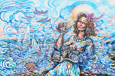 St.tropez Painting - She Sells Seashells By The Seashore by Susan Schiffer