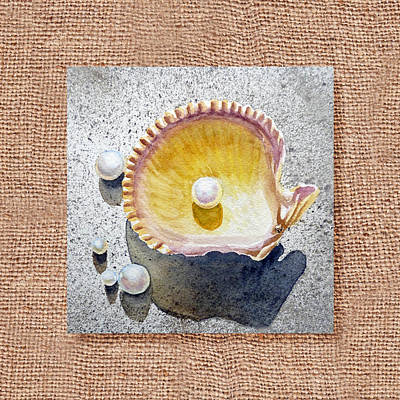 She Sells Seashells Decorative Collage Art Print by Irina Sztukowski