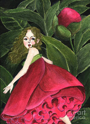 Gouache Painting - She Stole A Peony To Wear by Jingfen Hwu
