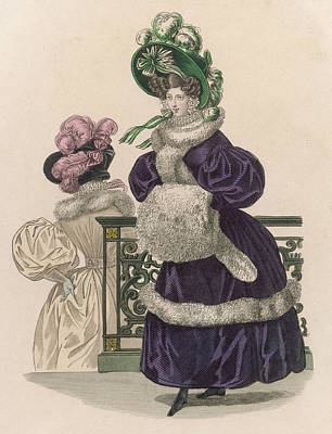 Boa Constrictor Drawing - She Wears A Green Velvet  Bonnet by Mary Evans Picture Library