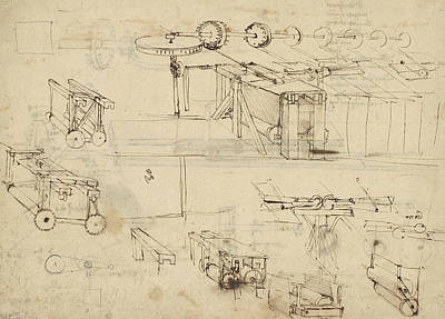 Da Vinci Reproductions Drawing - Shearing Machine For Fabrics And Its Components From Atlantic Codex  by Leonardo Da Vinci