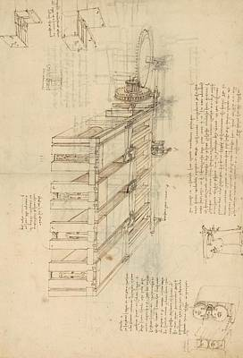 Pen Drawing - Shearing Machine With Detailed Captions Explaining Its Working From Atlantic Codex by Leonardo Da Vinci