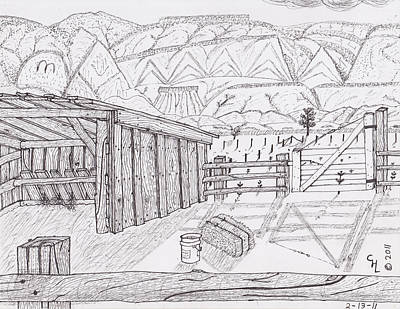 Horse Shed Drawing - Shed 3 by Clark Letellier