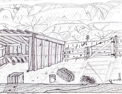 Horse Shed Drawing - Shed 4 by Clark Letellier
