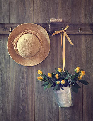 Hanging Basket Photograph - Shed Door by Amanda Elwell