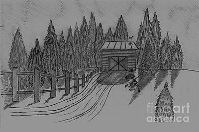 Shed In The Snow Original by Neil Stuart Coffey