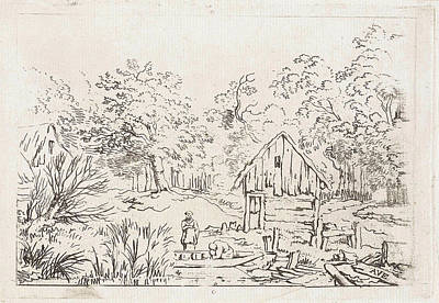 Shed Drawing - Shed Near The Water, Print Maker Anonymous by Allaert Van Everdingen