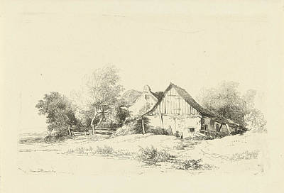 Shed Drawing - Shed On The Waterfront, Remigius Adrianus Haanen by Remigius Adrianus Haanen