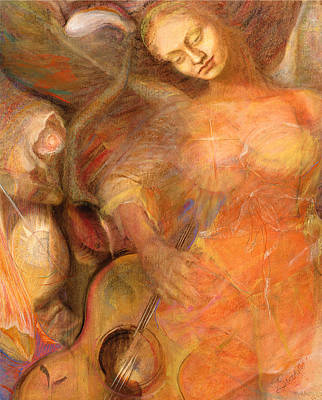 Angel With Musical Instrument Drawings Pastel - Shedding A Little Light On The Situation - Original Art By Brooks by Brooks Garten Hauschild