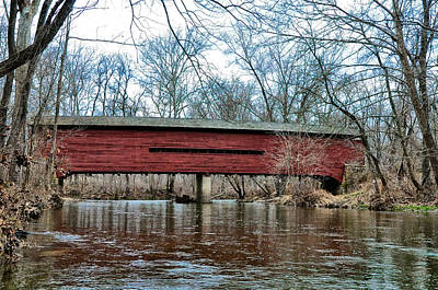 Sheeder - Hall - Covered Bridge Chester County Pa Art Print by Bill Cannon