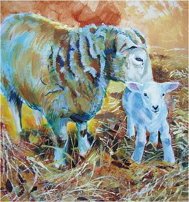 Painting - Sheep And Lamb by Mike Jory