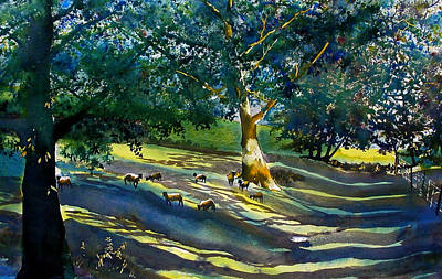 Painting - Sheep And Shade by Glenn Marshall