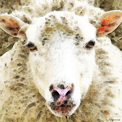 For Sale Painting - Sheep Art - White Sheep by Sharon Cummings