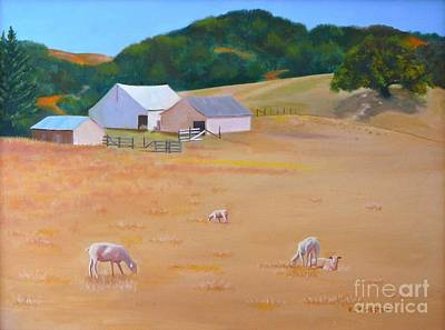 Shorn Sheep Painting - Sheep At Redhill Farm by K L Kingston