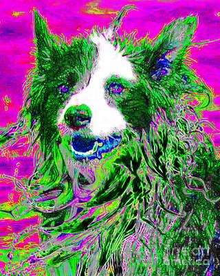 Pup Digital Art - Sheep Dog 20130125v2 by Wingsdomain Art and Photography