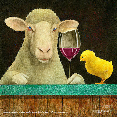 Sheep Faced On Wine With Some Chick He Met In A Bar... Art Print by Will Bullas