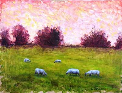 Animal Painting - Sheep Feeding At Dusk by L Jay Adams