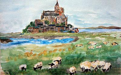 Sheep Grazing At Mont Saint Michel Art Print by Michael Helfen