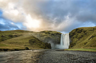 Photograph - Sheep Grazing At Skogafoss by Denise Bush